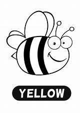 Bee Coloring Wings Cartoon Template Yellow Glitter Colour Paint Words Printable Outline Bees Sheets Drawing sketch template