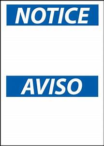 NOTICE/AVISO Sign - [Blank]