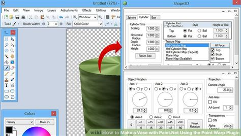 how to make a vase with paint net using the point warp plugin