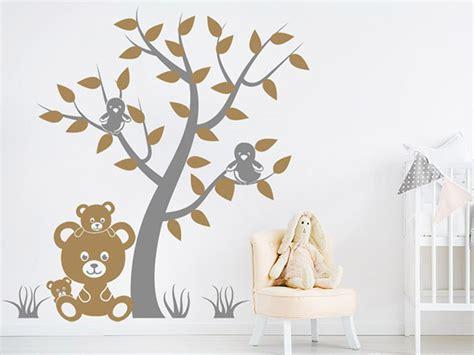 Wandtattoo Kinderzimmer Rauputz by Wandtattoo Baum Mit V 246 Geln Und Teddyb 228 Ren Wandtattoos De