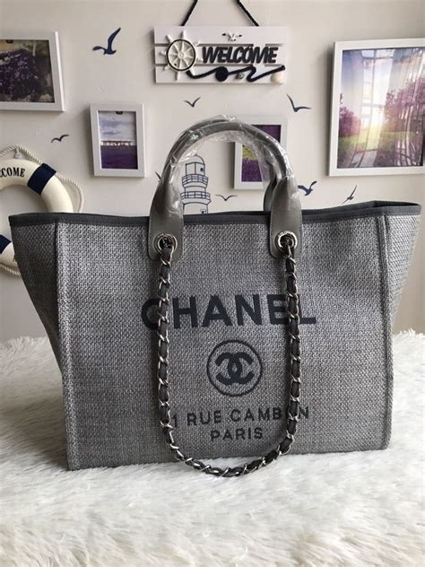chanel deauville fabric tote gray luxurytastic replicas   chanel canvas bag chanel