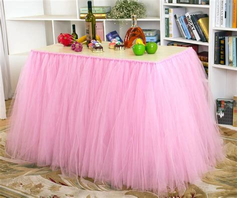 2018 tutu tulle table skirt princess ballerina fluffy baby shower wedding decorations from