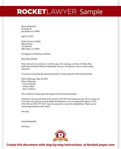 marriage certificate request letter template  sample