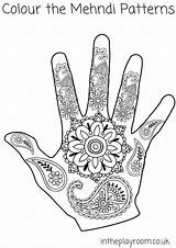 Coloring Henna Hand Pages Mehndi Colouring Printable Patterns Drawing Designs Crafts Intheplayroom Hands Template Diwali Elephant Handprints India Easy Blank sketch template