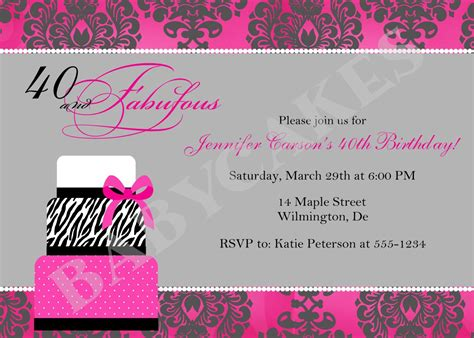 40th Birthday Party Invitations Wording FREE Invitation