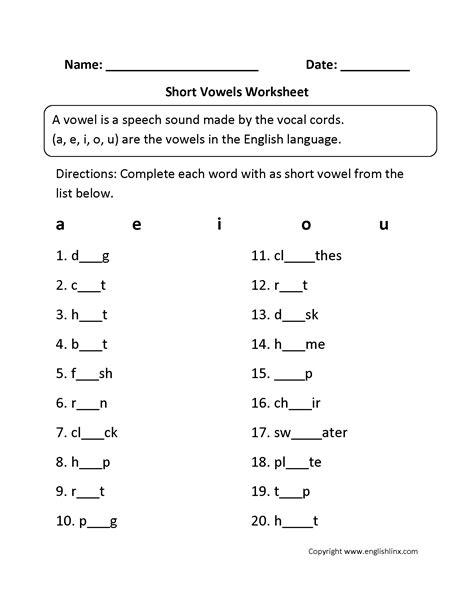 vowel worksheets short  long vowel worksheets