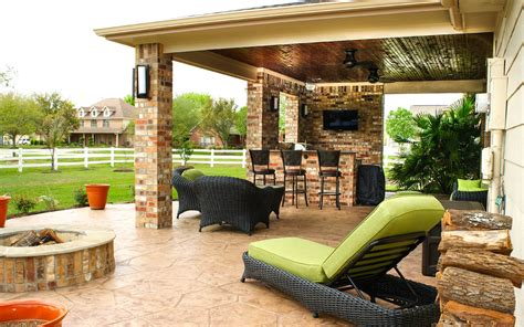 Pictures Of Outdoor Patios by Patio Cover Outdoor Kitchen In Pearland Estates