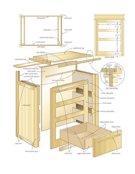 nightstand  storage woodworking plans woodshop plans