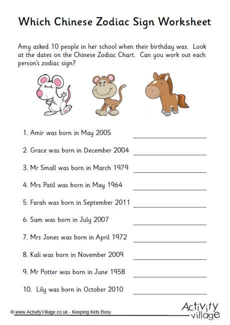 which chinese zodiac sign worksheet 1
