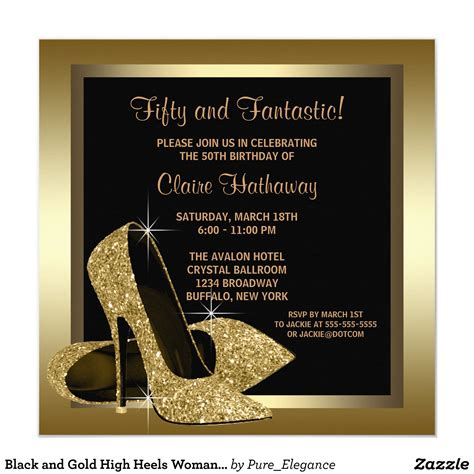 Personalized Birthday Invitations Black and Gold High