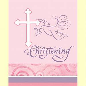 Pink Christening Invitations in packs of 8 Party Wizard