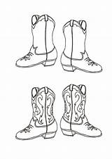 Cowboy Coloring Boot Pairs Boots sketch template