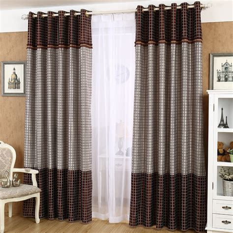Gray And Brown Gingham Vintage Room Darkening Curtains