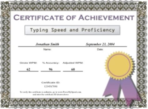 Typing Certificate Template by Certificate Sles