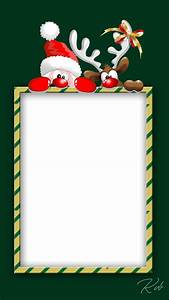 christmas frame with santa and reindeer - FreeProducts
