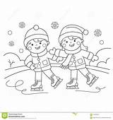 Coloring Boy Outline Cartoon Sports Winter Dreamstime Clipart Skating sketch template