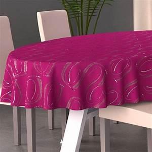 Nappe Table Ovale : nappe ovale l230 cm jade fuchsia nappe de table eminza ~ Teatrodelosmanantiales.com Idées de Décoration