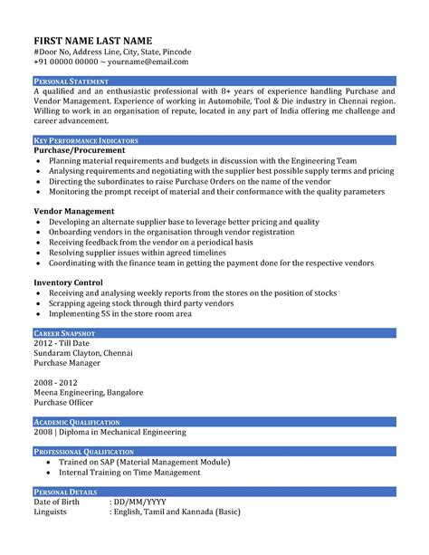sle resume cv of a purchase manager in india
