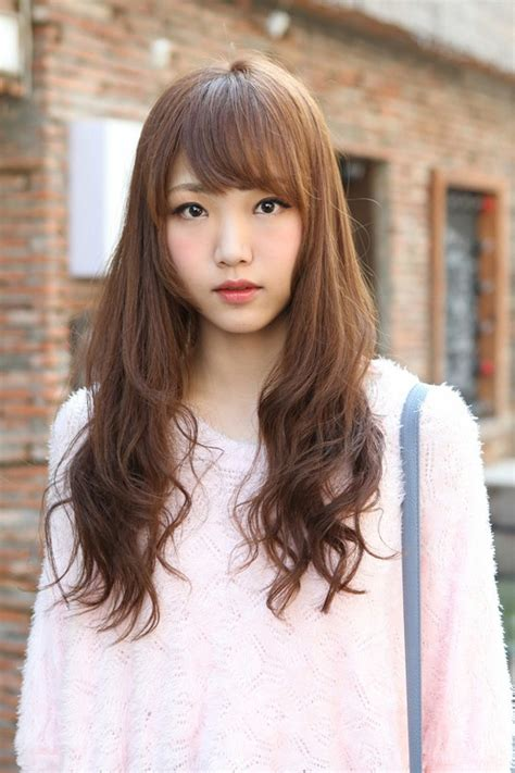 cute korean hairstyle  girls long brown hair