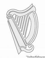 Harp Stencil sketch template