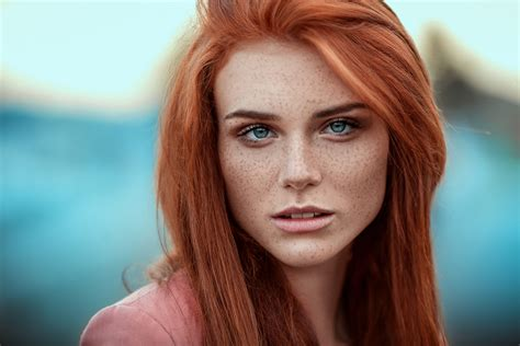 Wallpaper Face Women Redhead Model Depth Of Field