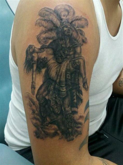 aztec warrior holding princess tattoo    couple
