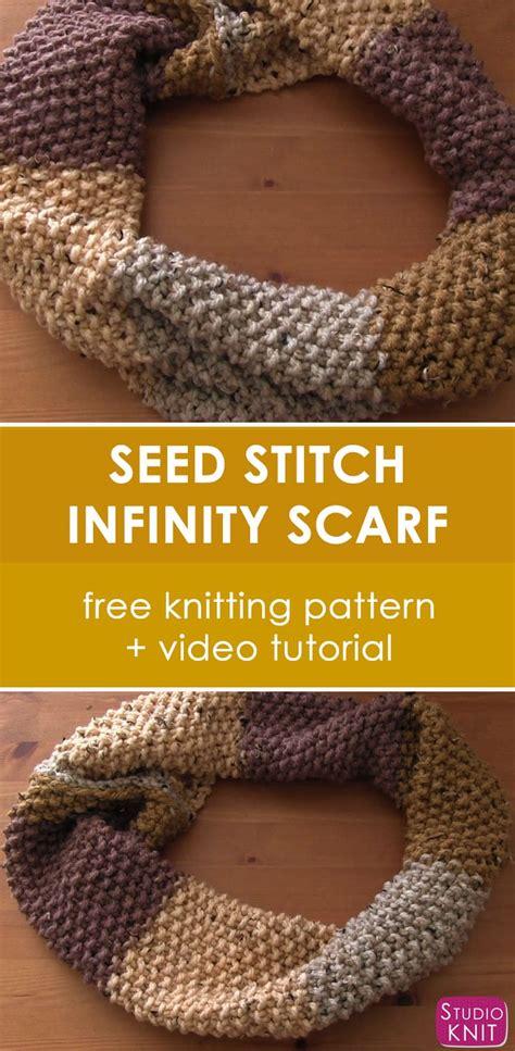 seed stitch infinity scarf pattern studio knit