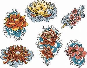 Japanese floral lotus decorative set | Free download