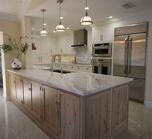 White Kitchen with Driftwood Peninsula - Home Bunch