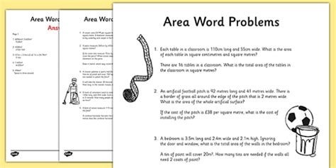 area word problems worksheet activity sheet maths year 5