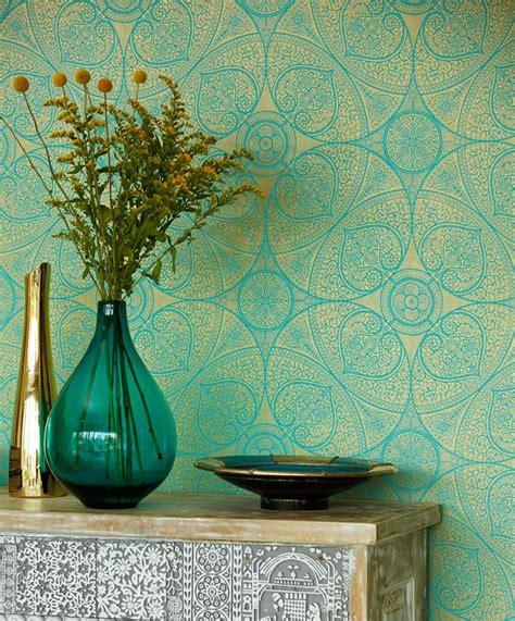kassandra turquoise gold novelty wallpaper