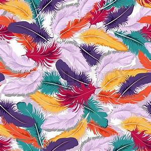 Decorative seamless background with colorful feathers