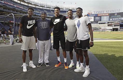MVP Antetokounmpo gives baseball a shot at Yankee Stadium ...