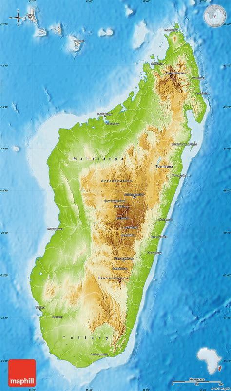 Physical Map Of Madagascar, Shaded Relief Outside