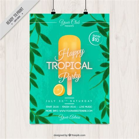 Tropical Poster Template tropical party poster with ice cream vector free download