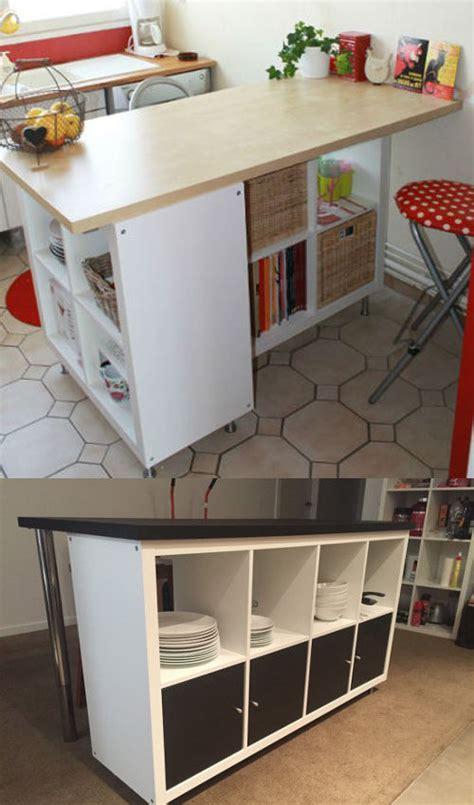 meuble de cuisine avec plan de travail ikea hack détourner et customiser une étagère kallax