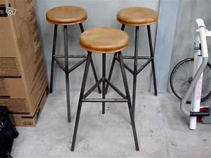 Tabouret De Bar Acier : 3 tabourets de bar acier ch ne design industriel ~ Teatrodelosmanantiales.com Idées de Décoration