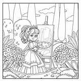 Coloring Easel Away Walking Draws Palette Brush Princess Outlined Cartoon Illustrations sketch template