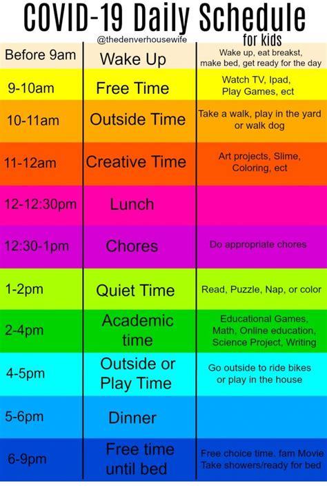 daily schedule covid  coronavirus kids imageonly
