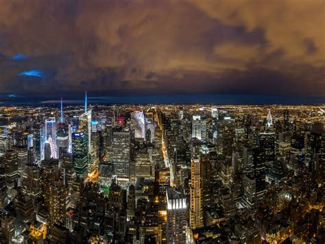 york cityscape  night aerial view panorama united