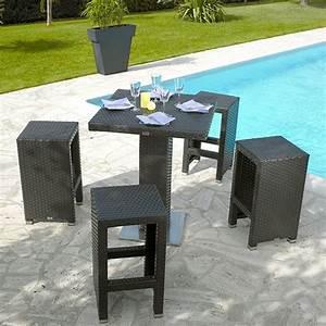 Beautiful table haute et tabouret de jardin ideas for Table haute jardin