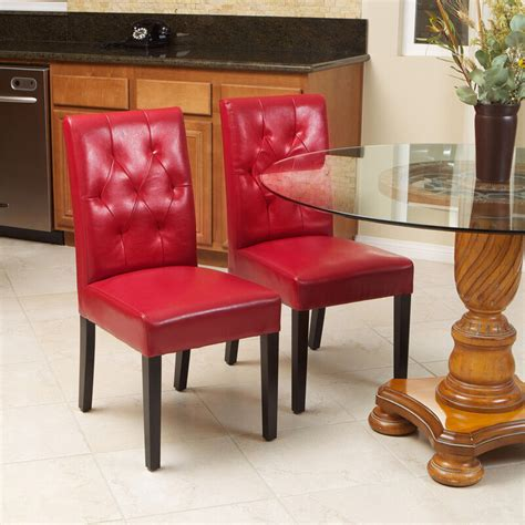 set   classy red leather dining room chairs  tufted
