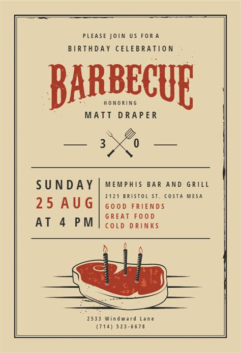 birthday bbq bbq party invitation template