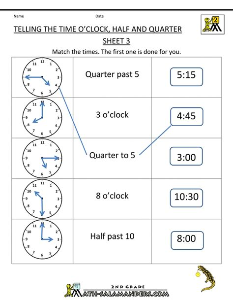 resource 4 tell time to quarter hour using the language