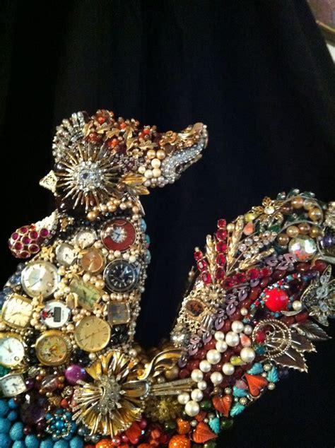 repurposed vintage jewelry art images  pinterest