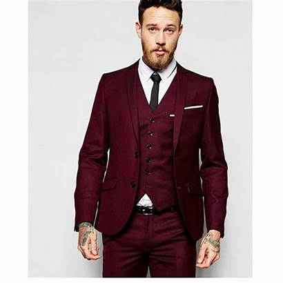 Suits Burgundy Tuxedo Formal Wear Jacket Buttons