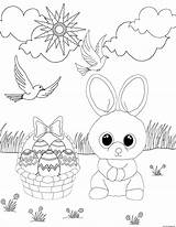 Coloring Easter Boo Rabbit Beanie Printable Eggs sketch template