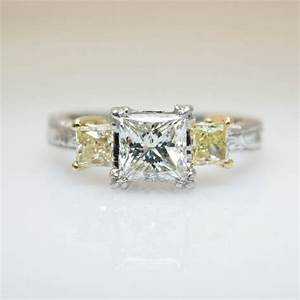 Unique vintage tacori diamond engagement ring yellow for Platinum princess cut wedding rings