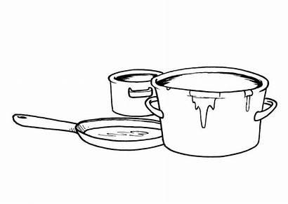 Coloring Pans Pots Pages Printable