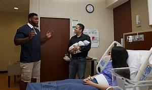 Football Pro Devon Still Surprises New Dad at Hospital